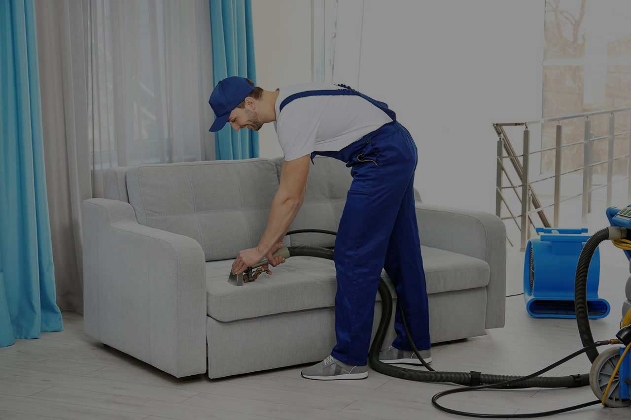 Technician professionally cleaning a sofa